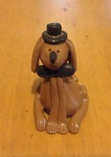 """""""BROWN DOG WITH TOP HAT AND BOW TIE MINIATURE FIGURINE"""""""