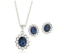 Charm Crystal Bridal Jewelry Set Pendant Necklace Stud Earring Wedding Jewelry