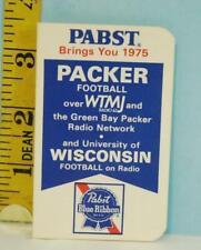 1975 Green Bay Packers Football Schedule + Wisconsin U. Pabst Blue Ribbon Beer