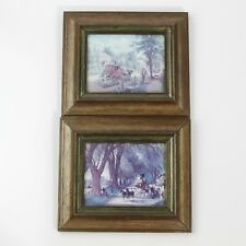 """VINTAGE HORSE & CARRIAGE COLONIAL SCENES ART PRINTS IN GLASS FACE WOOD FRAME ~7"""""""