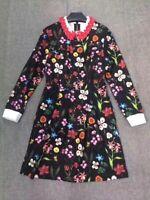 Ted Baker TILLENA Floral Print Long sleeved Collared dress Black 0,2,3,4,5