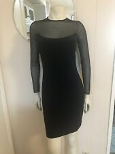 Tadashi Stunning Black Cocktail Dress W/ Sheer Neck & Sleeved & Beaded Front XS