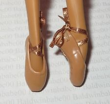 SHOES ~ BARBIE DOLL MISTY COPELAND MODEL MUSE NUDE TAN POINT TOE BALLET SLIPPERS