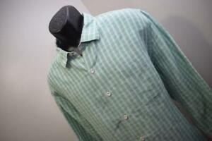 Tommy Bahama Hawaiian Dress Shirt Linen Tencel Plaid Long Sleeve Mens Size XL