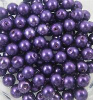 Z003 dark purple Glass Pearl Round Spacer Loose Beads 4/6/8/10mm DIY Wholesale