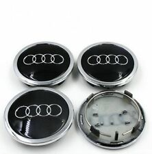 4pcs Audi Wheel Center Hub Cap Black Emblem Badge Logo 69mm