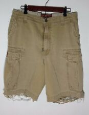 Abercrombie & Fitch Cargo Shorts Distressed Tan Men's Size 32