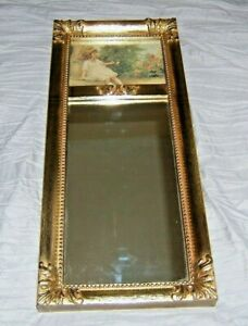 French Style Gold Trumeau Mirror w/ Picture Of Girl Blowing Bubbles~Made in USA