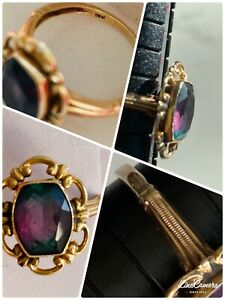 Vintage 1940's 10K Yellow Gold Amethyst Ring - Purple with Deep Green Highlights