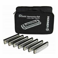 Hohner BluesBand Set of Seven Harmonicas 7 harps in 7 keys with case Blues Band