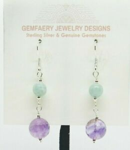 Sterling Silver AMETHYST & LARIMAR Gemstone Earrings #8524...Handmade USA