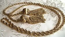 Vintage Long Dangle Gold plated Flapper Lariat necklace Runway Gorgeous