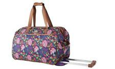 NEW LILY BLOOM WHEELED DUFFEL CARRY ON LUGGAGE PLAYFUL GARDEN PATTERN