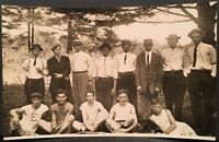 RPPC Real Photo Postcard ~ Men Stand Behind Team of Five Seated Men ~ Sports