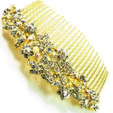 USA Hair Comb vintage Crystal Handmade Bridal wedding prom flower pin gold 06