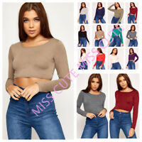 WOMENS LONG SLEEVE CROP TOP CASUAL PLAIN T SHIRT TOPS LADIES CROP TOP SIZE 8-14