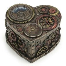 Steampunk Heart Shape Trinket Box Gothic Home Decor Statue Sculpture