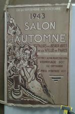 AFFICHE ORIGINALE ANCIENNE SALON D'AUTOMNE PALAIS BEAUX ARTS PARIS 1943 DESNOYER