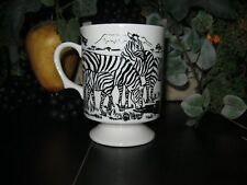 Vintage Zebra Coffee Cup Japan Pedestal Tea Cup Footed Mug Hot Chocolate