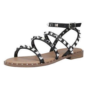 DREAM PAIRS Women Gladiator Summer Rhinestone Ankle Strap Flat Sandals Shoes US