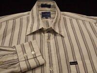 Faconnable Mens Medium L/S Button-Front 100% Cotton Multicolor Striped Shirt