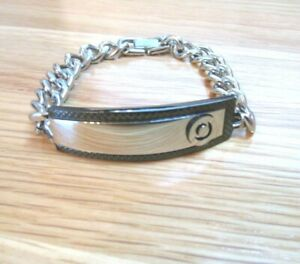 MENS BEN SHERMAN STAINLESS STEEL AND COBOLT TARGET LOGO BRACELET NEW AND BOXED
