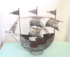 "Vintage Metal Decorative Sailing Ship, 13"" x 12"" Home Decor Nautical"