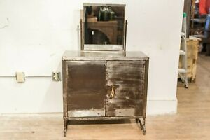 Mid Century French Dressing Table with Mirror, Vintage White Dresser with Drawer