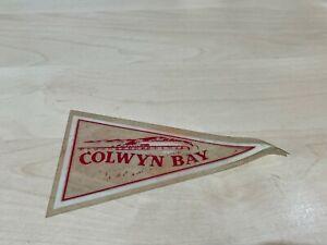 Genuine Vintage Vinyl Holiday Pennant Window Sticker - Colwyn Bay - Campervan