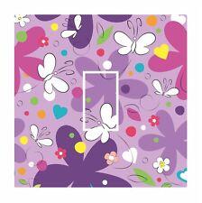 Mignon violet enfants papillon & fleurs interrupteur de lumière vinyle sticker cover skin decal