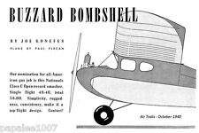 "Model Airplane Plans (FF): Vintage Buzzard Bombshell 72"" by Joe Konefes (1940)"