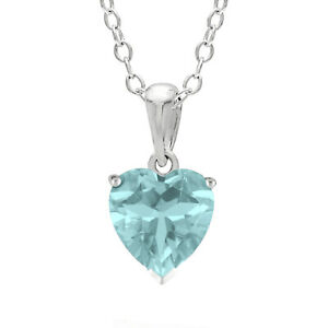 .61 CT Heart 6MM Blue Aquamarine and White Topaz Sterling Silver Pendant