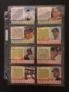 1962 Post Baseball Cards 107/200 set/lot Mantle Koufax Mays Clemente 14 HOFers!!