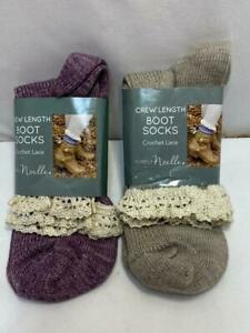 2 Pair Simply Noelle Crew Length Crotchet Lace Boot Socks One Size Tan & Purple