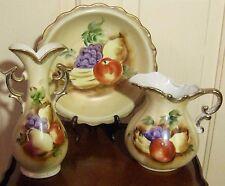 1950s Japan Hand Painted Pitcher-Basin-Vase Porcelain Pale Straw Color & Fruit