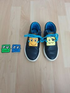 Clarks Toddler Boys Leather Navy Blue Shoes Boots Size 11G