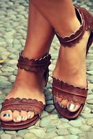 Women`s Large Size Vintage Customize Leather Open Toe Buckle Flat Sandals zsell