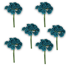 Craft Flowers QTY 72 Mini Ribbon Rose Also Know as Silk Roses - Teal