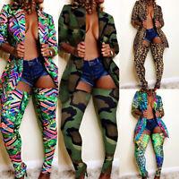 Women's Set Tracksuit Long Sleeve Print Blazer Pencil Pants Suit Two Piece Set