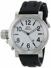 Gino Franco Men's Westside Quartz Round Stainless Steel and Rubber Strap Watch