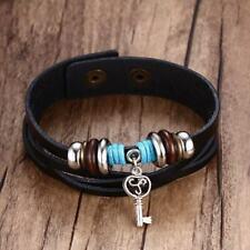Black Braided Leather Wrap Cuff Bracelet with Heart Key Charm