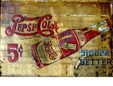 "TIN SIGN ""Pepsi Cola 5 Cents Bottle""  Beverages Signs Garage Wall Decor"