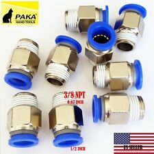 "10X Male Straight Connector Tube OD 1/2""(12mm) X  NPT 3/8 PU Air Push In Fitting"