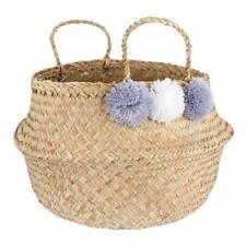 Sass & Belle Seagrass Storage Basket with Grey and White Pom Poms