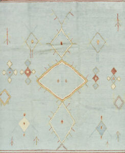 Moroccan Beni Ourain Rug, 8'x10', Blue, Hand-Knotted Wool Pile