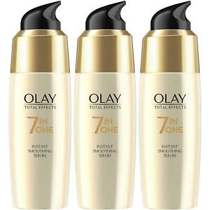 3 x Olay Total Effects 7-in-1 Anti-Ageing Instant Smoothing Serum, Healthy Skin