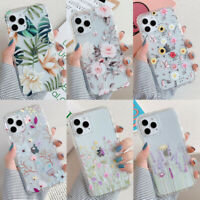 For iPhone 12 11 Pro Max XS XR X 8 7 Plus Flower Hybrid Clear Hard Case Cover