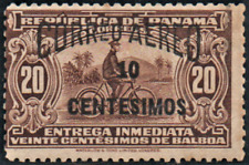 More details for panama, 10c on 20c scott c18a,1929 small overprint black 1929 unmounted mint n/h