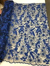 ROYAL BLUE 3D FLORAL WITH VINES AND PEARLS ON A BLACK MESH LACE-SOLD BY YARD.NEW