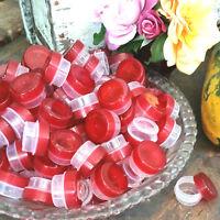 50 Transparent Red Cap 3 dram JARS stash container beauty pot lipgloss 1tsp 3301